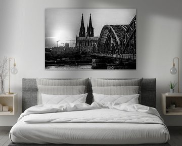 Köln Panorama Kölner Dom schwarz-weiß von Michael Bartsch