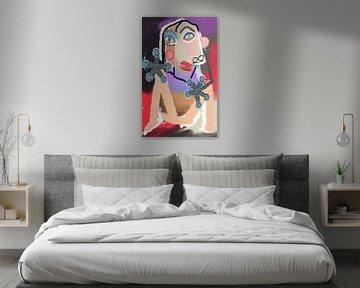 Sitzende Frau in Rot, Picasso-Kubismus von Nicole Habets