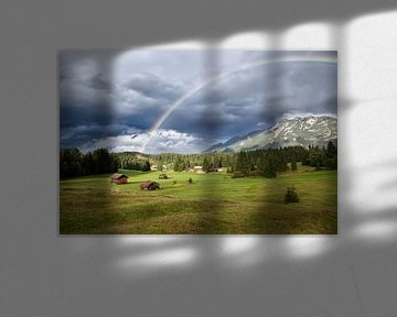 Colorful rainbow over Alps van Olha Rohulya