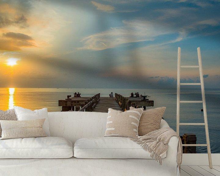 Sfeerimpressie behang: Zonsondergang op Bali van Hugo Braun