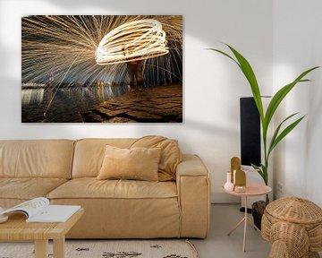 Lightpainting brandend staalwol van Fotografiecor .nl