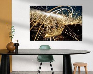 Lichtmalerei-Fotografie mit brennender Stahlwolle von Fotografiecor .nl