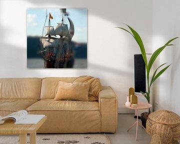 Künstlerische Arbeit eines nackten Mannes und Bootes aus der Vergangenheit (Boot) von Cor Heijnen