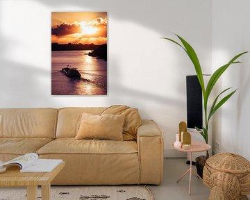 Zonsondergang boven de Rijn van Sander Peters Fotografie