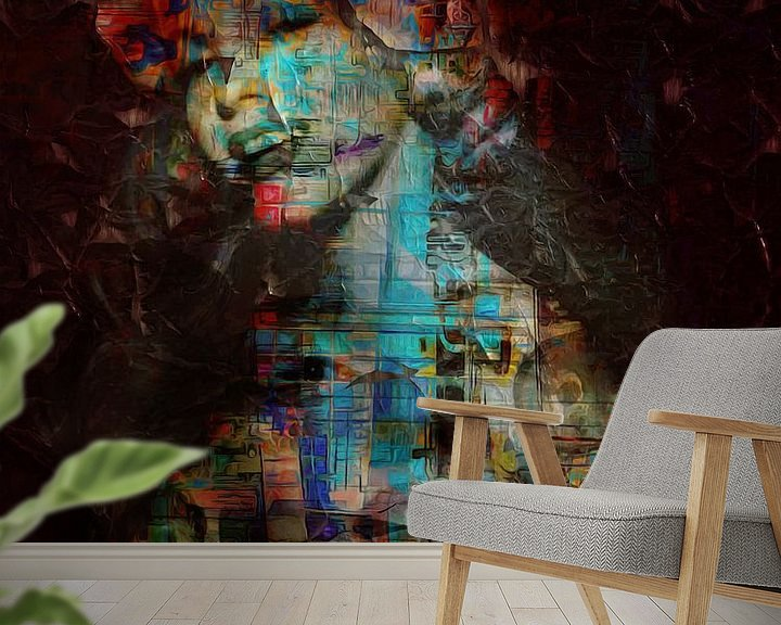 Sfeerimpressie behang: Marilyn Monroe graffiti 3 van Joost Hogervorst