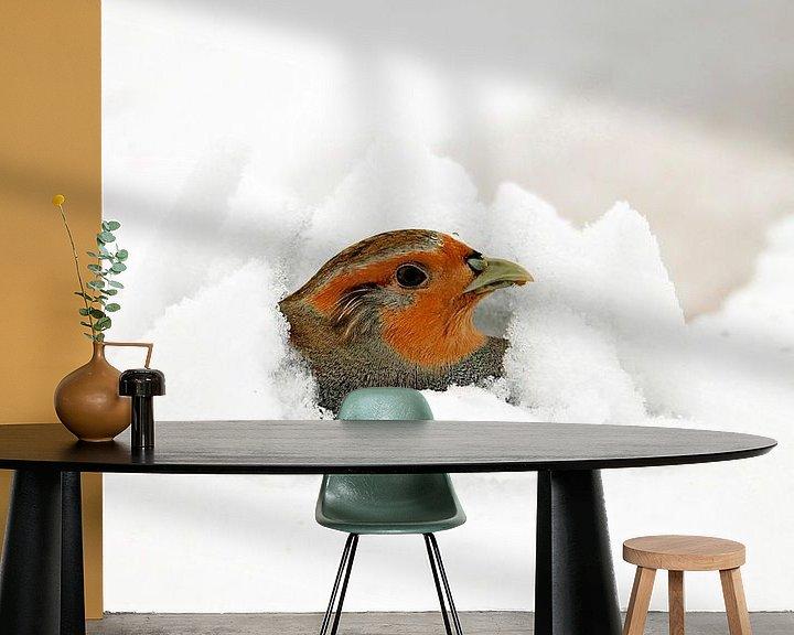 Sfeerimpressie behang: Patrijs in de sneeuw van Beschermingswerk voor aan uw muur