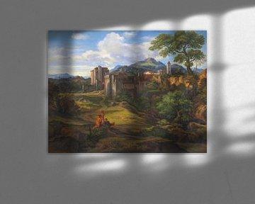 Campagnalandschaft mit befestigter Stadt, FERDINAND OLIVIER, Um 1830