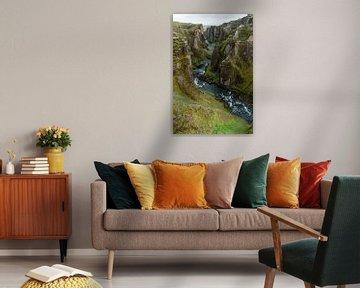 Fjaðrárgljúfur Canyon met begroeide rotswanden van Hans-Heinrich Runge