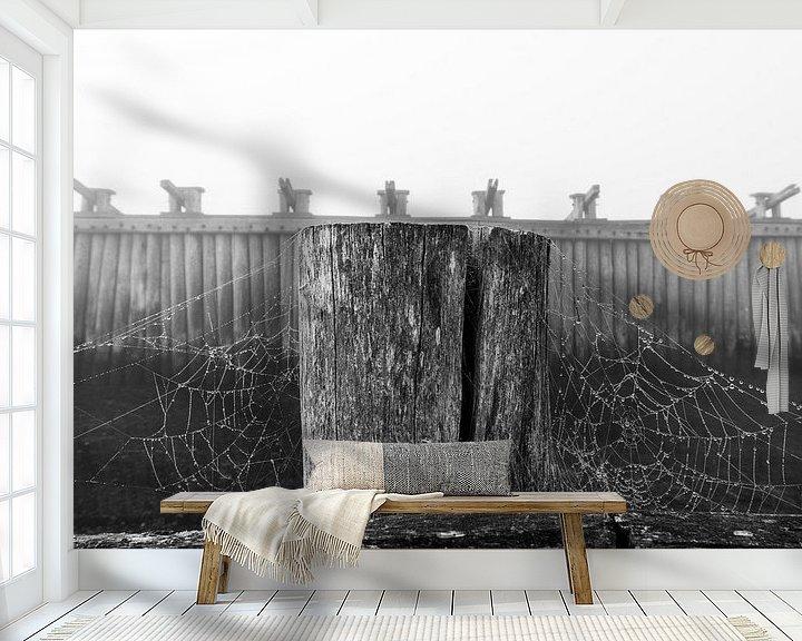 Sfeerimpressie behang: Palendijk in de mist van Felix Sedney