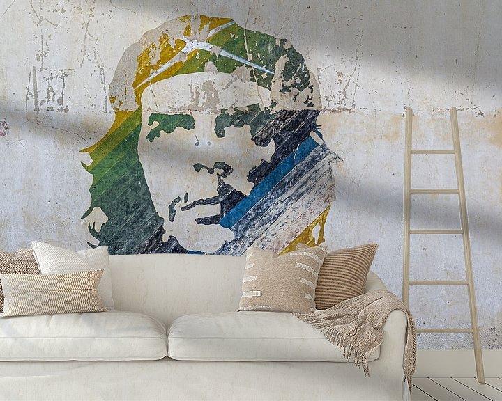 Sfeerimpressie behang: Vervaagde muurschildering Che Guevara in Havana Stad van Jan van Dasler