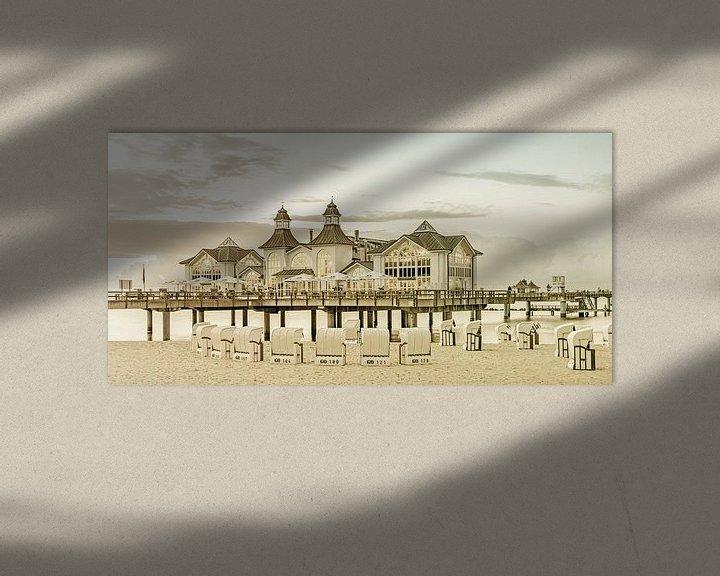 Sfeerimpressie: RÜGEN pier in Sellin bij zonsondergang   Vintage Panorama van Melanie Viola