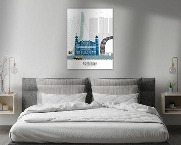 Skyline-Illustration Stadt Rotterdam von Mevrouw Emmer