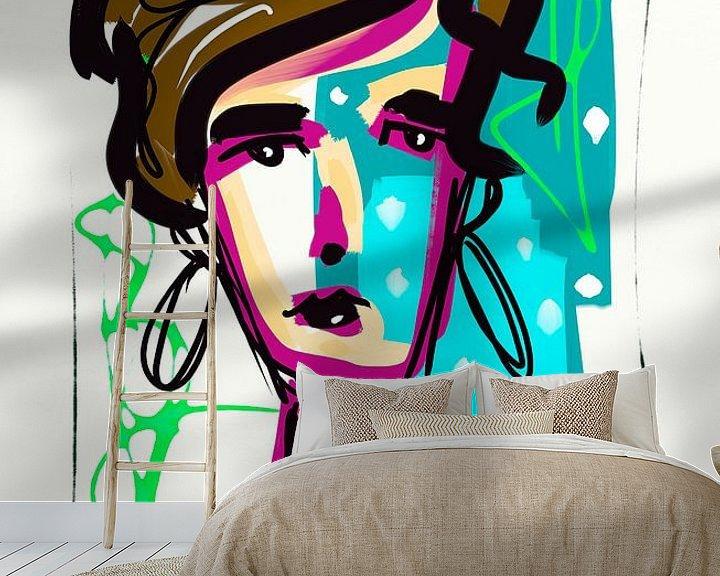 Sfeerimpressie behang: Blue girl 2 van Jolanda Janzen-Dekker