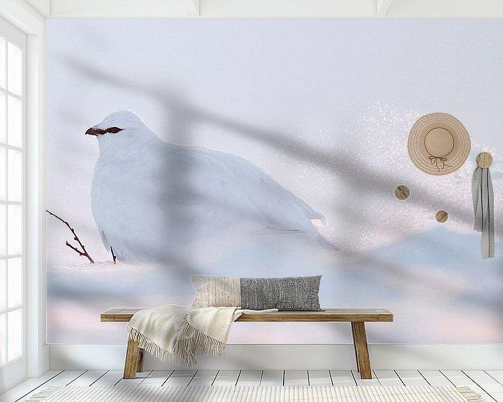 Sfeerimpressie behang: Alpensneeuwhoen (Lagopus mutus) van Beschermingswerk voor aan uw muur