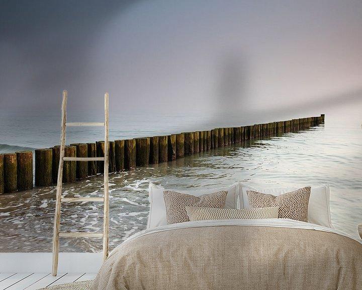 Sfeerimpressie behang: Kribben bij zonsondergang van Frank Herrmann