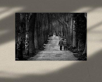 Un vieux couple marié marche ensemble sur un long chemin forestier