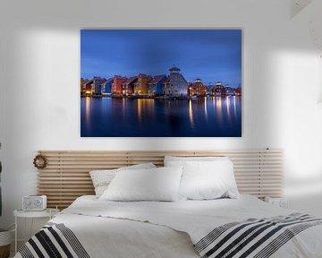 Reitdiep harbor at blue hour! van Robert Kok