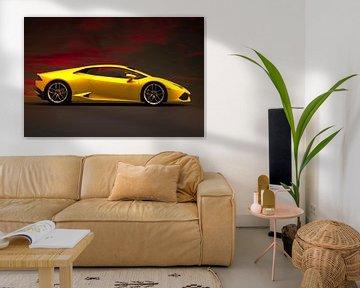 Lamborghini Huracan, gelber italienischer Sportwagen von Gert Hilbink