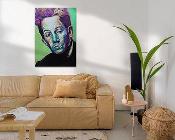 Egon Schiele Portret in Groen van Helia Tayebi Art