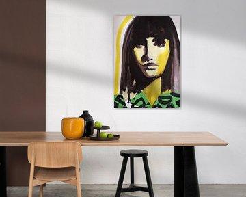 Grüner Leopardendruck von Helia Tayebi Art