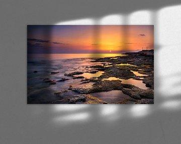 Zonsondergang bij Paphos, Cyprus van Adelheid Smitt