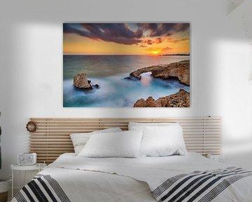 Love Bridge Sunset, Aya Napa, Cyprus van Adelheid Smitt