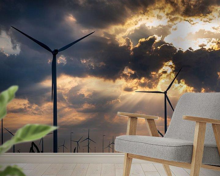 Sfeerimpressie behang: Windmolenpark Eemshaven van Evert Jan Luchies