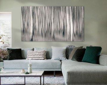Berkenbos abstract zwart wit van Vincent Fennis