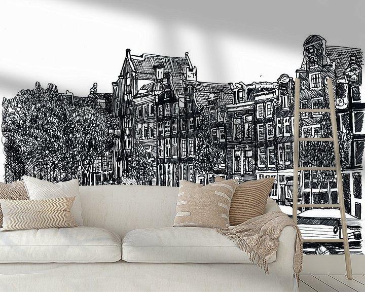 Sfeerimpressie behang: Pentekening Herengracht Amsterdam Nederland Tekening Lijntekening van Hendrik-Jan Kornelis