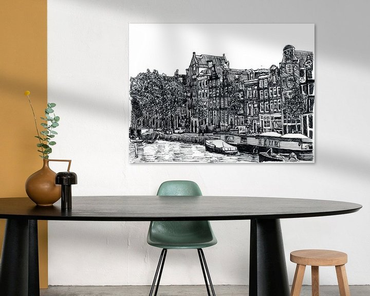 Sfeerimpressie: Pentekening Herengracht Amsterdam Nederland Tekening Lijntekening van Hendrik-Jan Kornelis