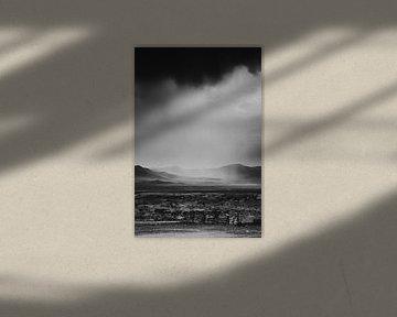 Tough schwarz und weiß mongolischen Landschaft mit Niederschlag von Holly Klein Oonk