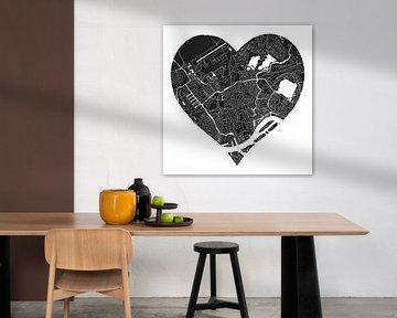 Rotterdam Nord | Stadtplan in einem schwarzen Herz von Wereldkaarten.Shop