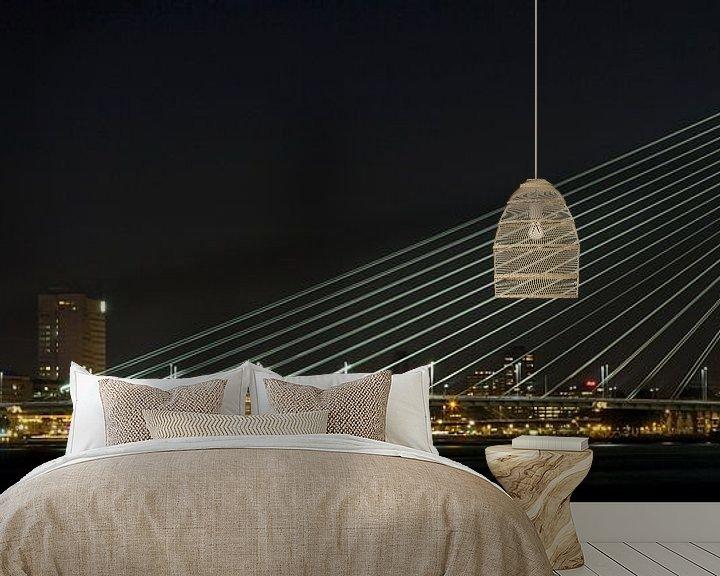 Sfeerimpressie behang: Passerende boot in de nacht van Miranda van Hulst