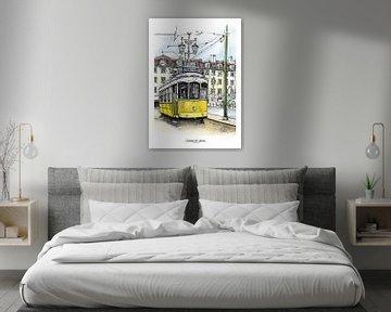 Lissabon Poster 2 - Tram van Yeon Yellow-Duck Choi