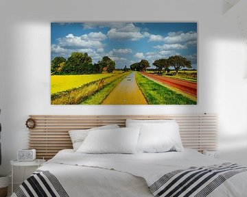 Polderweg mit Fahrradweg von Digital Art Nederland