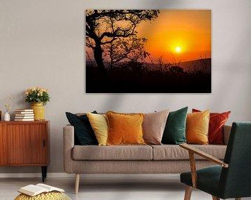 Zonsondergang in Zuid-Afrika van Puck Bertens