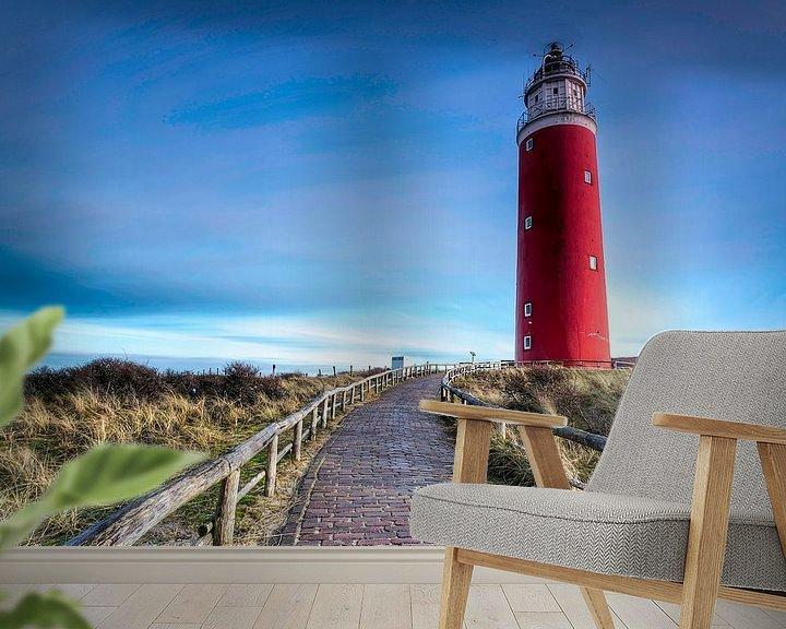 Sfeerimpressie behang: Vuurtoren Texel van Maurice Hoogeboom