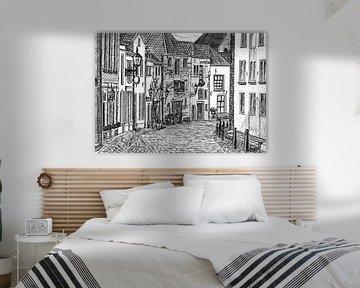 Tekening van een straat in centrum van Deventer van Lonneke Kolkman