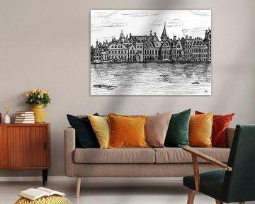 Zeichnung von Den Haag, Buitenhof von Lonneke Kolkman