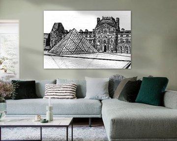 Zeichnung des Louvre, Paris von Lonneke Kolkman