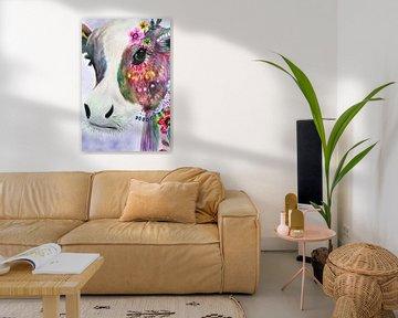 Koe met Bloemen Abstract Waterverf van Art By Dominic
