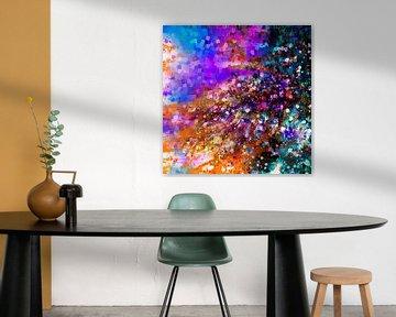 Modernes, abstraktes digitales Kunstwerk in Blau Rosa Orange von Art By Dominic