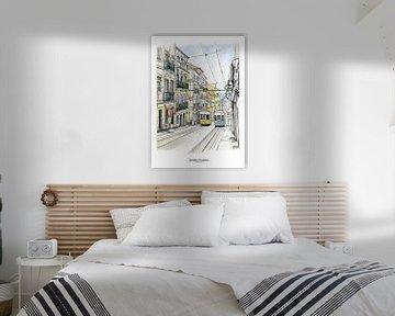 Lissabon Poster 5 - Tram van Chiado van Yeon Yellow-Duck Choi