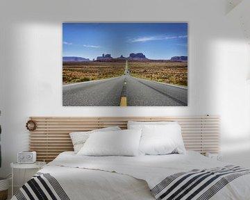 Roadtrip Highway Route 66 West-Amerika bij Monument Valley (Forrest Gump Point) van Bart Schmitz