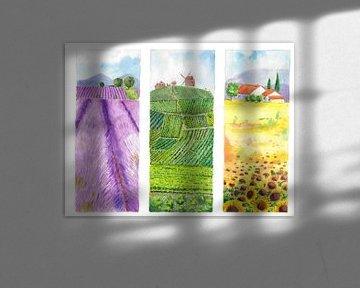 Triptychon mit französischer Landschaft von Ivonne Wierink