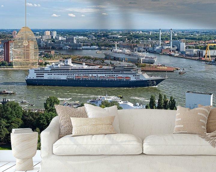 Sfeerimpressie behang: MS Rotterdam en SS Rotterdam / Holland America Line / Euromast van Rob de Voogd / zzapback
