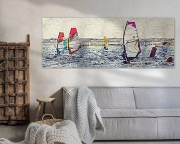 Surfen, Wellenreiten, Windsurfen (Malerei) von Art by Jeronimo