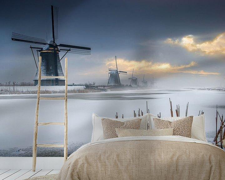 Sfeerimpressie behang: Windmolens Kinderdijk van Ruud Peters
