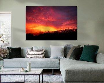 Brandende Rode Zonsondergang | Nederland | Landschapsfotografie van Diana van Neck Photography