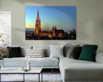 Illuminierter Münsterturm Freiburg von Patrick Lohmüller